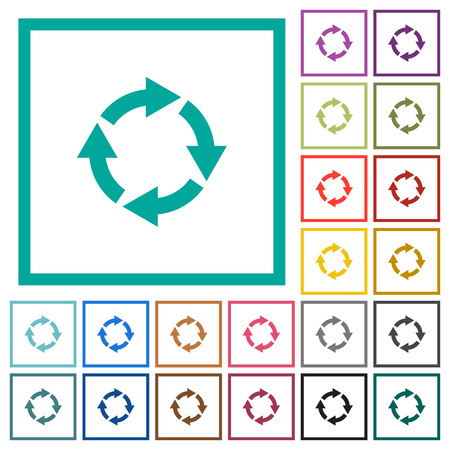 Rotate right flat color icons with quadrant frames on white background