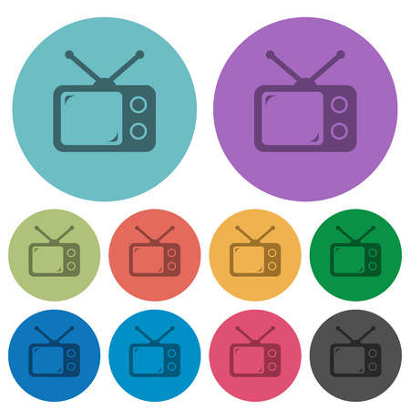 Vintage retro television darker flat icons on color round background