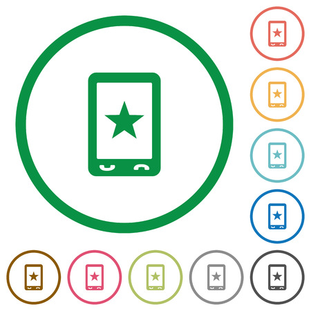 Mobile mark flat color icons in round outlines on white background Illustration