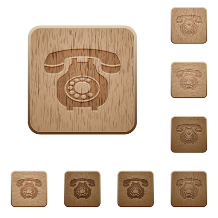 Vintage retro telephone on rounded square carved wooden button styles Ilustração