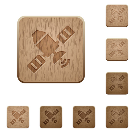Satellite on rounded square carved wooden button styles
