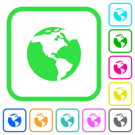 Earth vivid colored flat icons in curved borders on white background