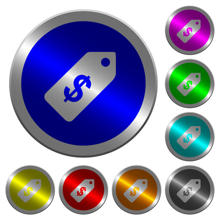 Dollar price label icons on round luminous coin-like color steel buttons
