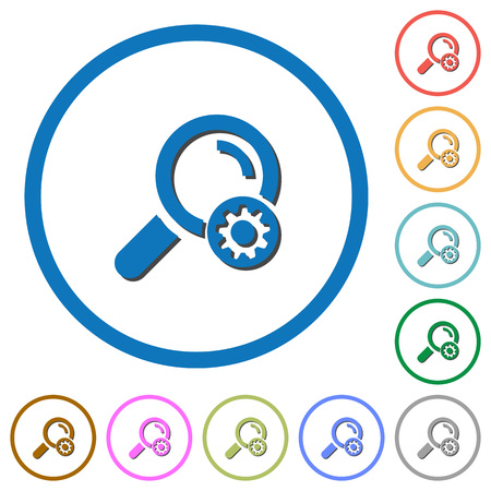 Search settings flat color vector icons with shadows in round outlines on white background Illustration