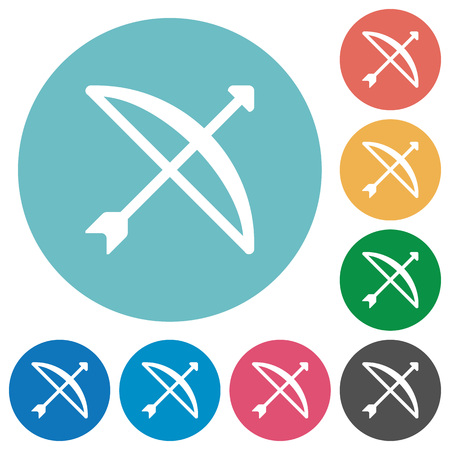 Bow with arrow flat white icons on round color backgrounds