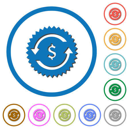 Dollar pay back guarantee sticker flat color vector icons with shadows in round outlines on white background