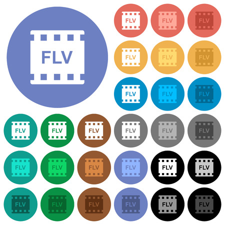 FLV movie format multi colored flat icons on round backgrounds. Included white, light and dark icon variations for hover and active status effects, and bonus shades on black backgounds. Illustration