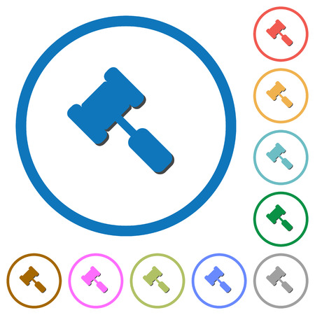 Judge hammer flat colored icons. Vektorové ilustrace