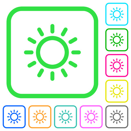 Brightness control vivid colored flat icons in curved borders on white background.