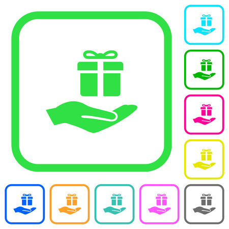 Giftbox vivid colored flat icons in curved borders on white background Ilustrace