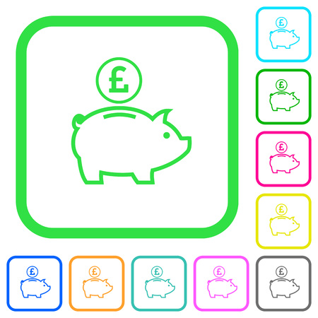 Pound piggy bank vivid colored flat icons in curved borders on white background. Иллюстрация