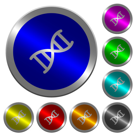 DNA molecule icons on round luminous coin-like color steel buttons.