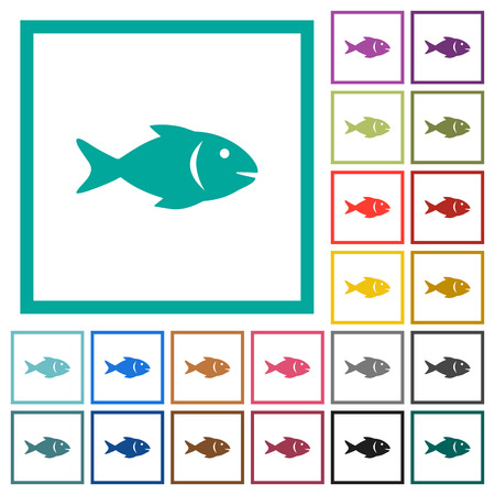 Fish flat color icons with quadrant frames on white background