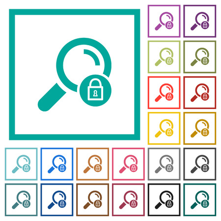 Search locked flat color icons with quadrant frames on white background