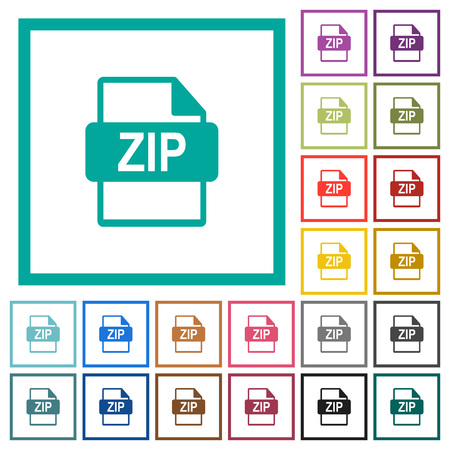 ZIP file format flat color icons with quadrant frames on white background