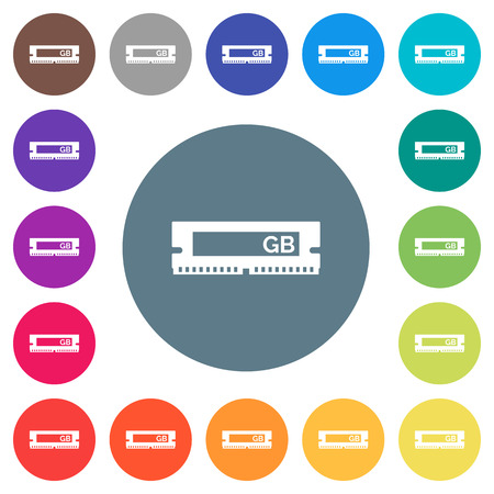 RAM memory module flat white icons on round color backgrounds. 17 background color variations are included.