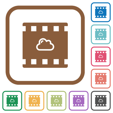 Cloud movie simple icons in color rounded square frames on white background.
