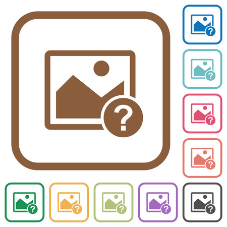 Unknown image simple icons in color rounded square frames on white background. Illustration