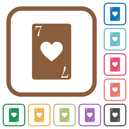 Seven of hearts card simple icons in color rounded square frames on white background.