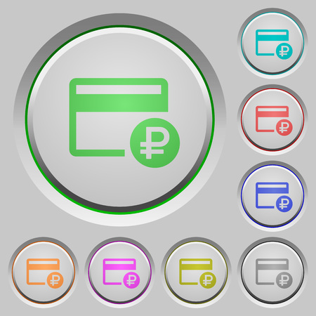 Ruble credit card color icons on sunk push buttons