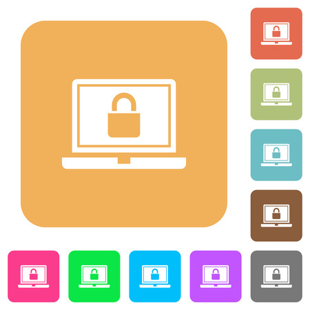 Locked laptop flat icons on rounded square vivid color backgrounds. Ilustrace