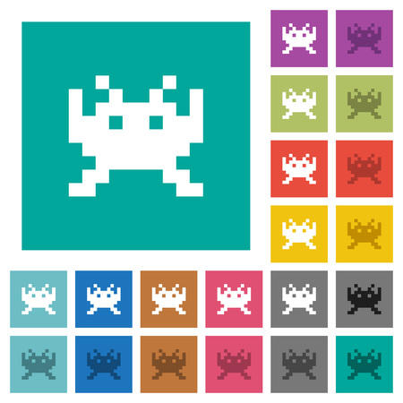 Video game multi colored flat icons on plain square backgrounds. Included white and darker icon variations for hover or active effects.