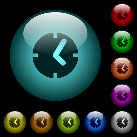 Clock icons in color illuminated spherical glass buttons on black background. Can be used to black or dark templates Illustration