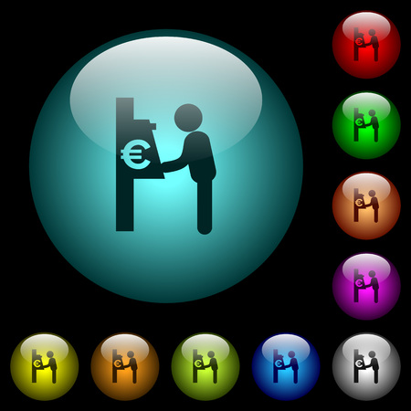 Euro cash machine icons in color illuminated spherical glass buttons on black background. Can be used to black or dark templates