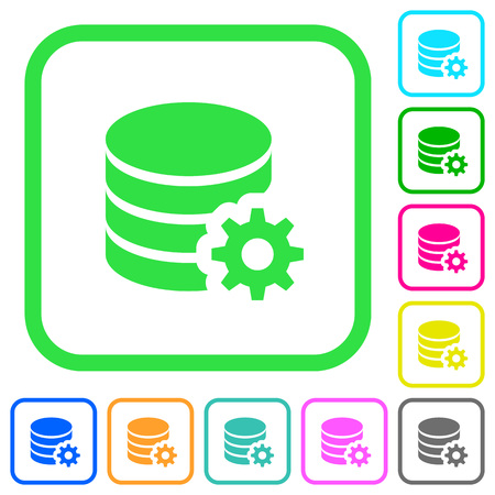 Database configuration vivid colored flat icons in curved borders on white background