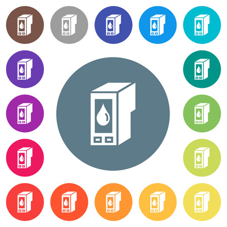 Ink cartridge flat color icons in round outlines.