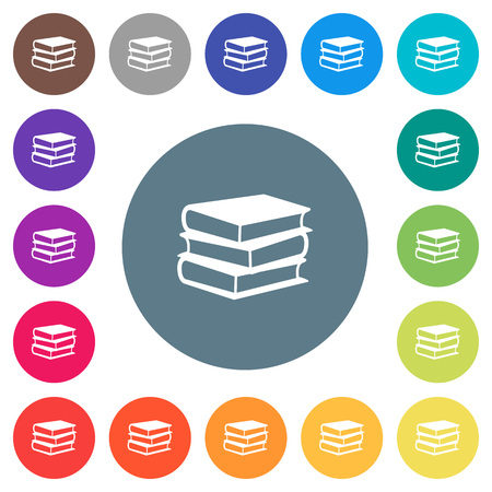 Books flat color white icons in round outlines.