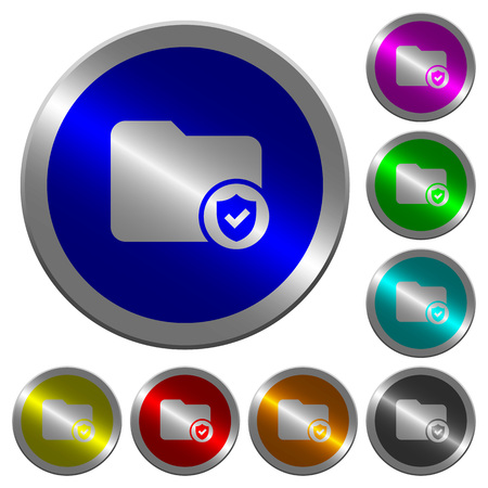 Protected directory icons on round luminous coin-like color steel buttons Illustration