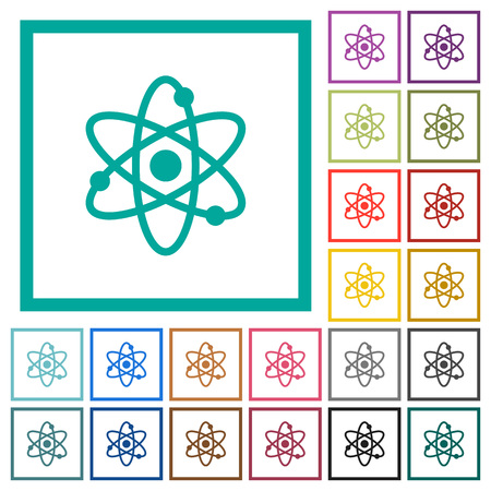 Atom symbol flat color icons with quadrant frames on white background Иллюстрация