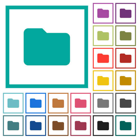 Single folder flat color icons with quadrant frames on white background.