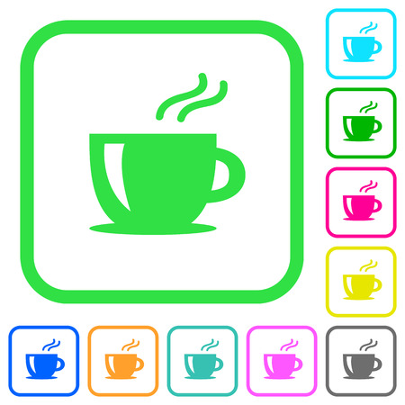 Cappuccino levendige gekleurde vlakke pictogrammen in gebogen grenzen op witte achtergrond Vector Illustratie