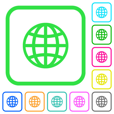 Globe vivid colored flat icons in curved borders on white background Illustration