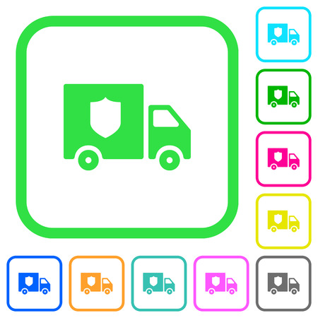 Money deliverer truck vivid colored flat icons in curved borders on white background