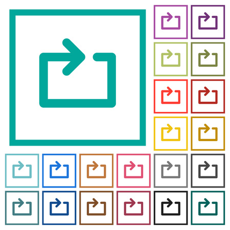 Media loop flat color icons with quadrant frames on white background Иллюстрация