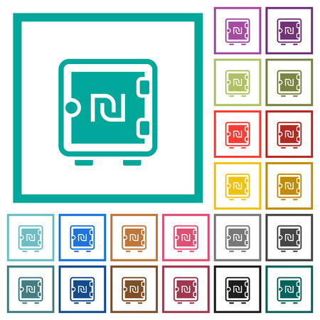 New Shekel strong box flat color icons with quadrant frames on white background Иллюстрация