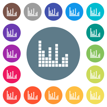 Sound bars flat white icons on round color backgrounds. 17 background color variations are included. Illustration