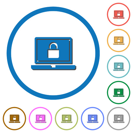 Locked laptop flat color vector icons with shadows in round outlines on white background Illustration