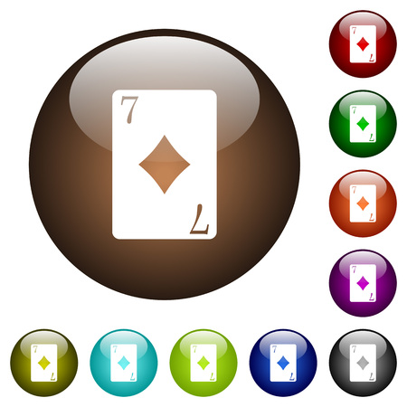 Seven of diamonds card white icons on round color glass buttons Foto de archivo - 92416152