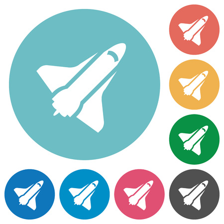 Space shuttle flat white icons on round color backgrounds
