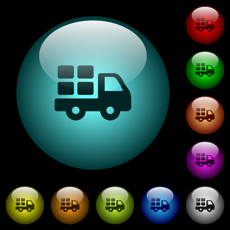 Transport icons in color illuminated spherical glass buttons on black background. Can be used to black or dark templates