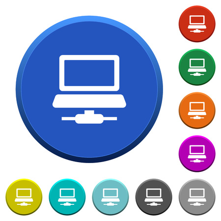 Network computer round color beveled buttons with smooth surfaces and flat white icons