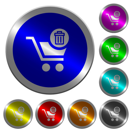 Delete from cart icons on round luminous coin-like color steel buttons