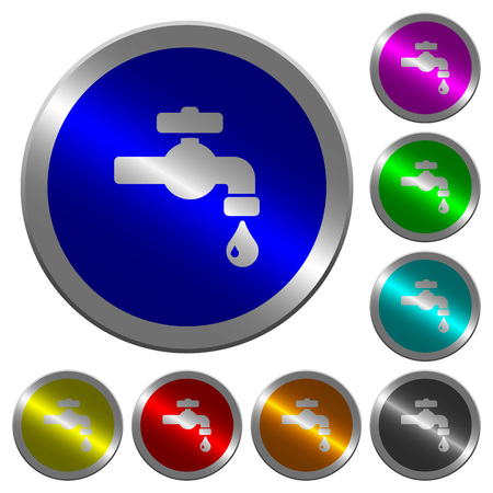 Water faucet with water drop icons on round luminous coin-like color steel buttons