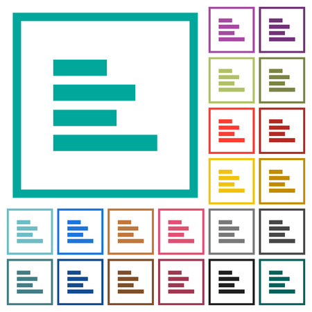 Text align left flat color icons with quadrant frames on white background