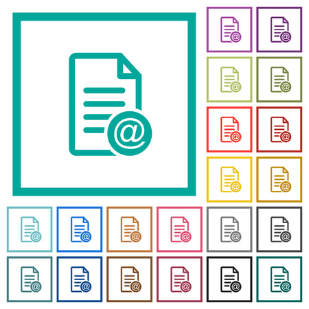 Send document as email flat color icons with quadrant frames on white background