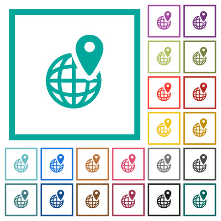 GPS location with globe symbol flat color icons with quadrant frames on white background